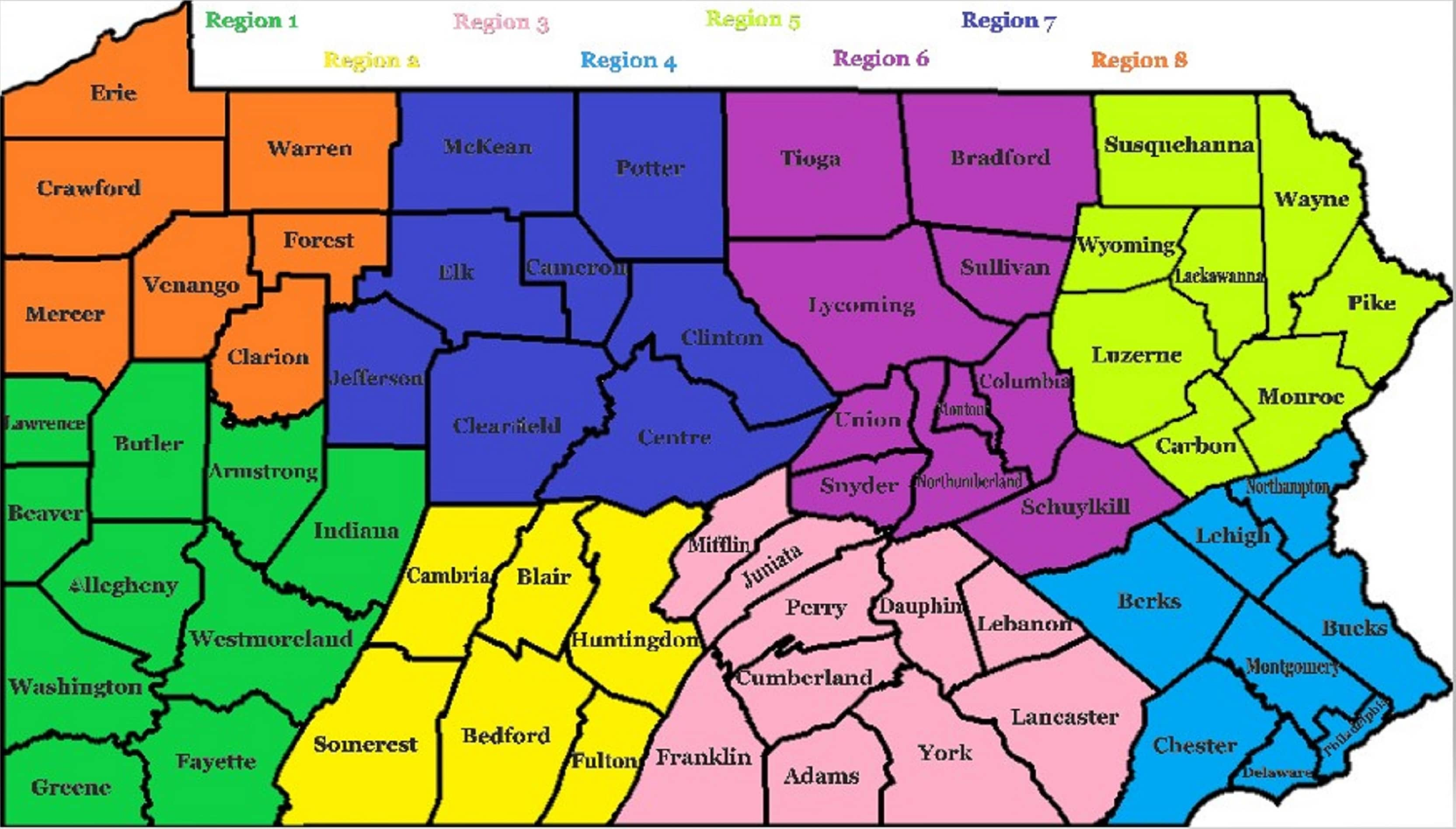 Map of Regions - Pennsylvania Society of Physician Assistants